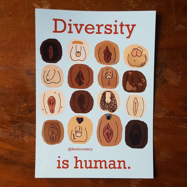 Diversity is human - Genitals (20 Sticker)